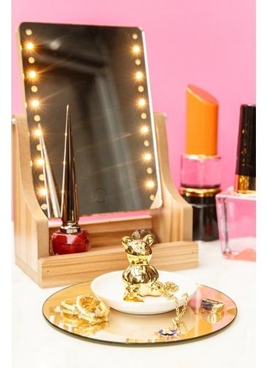 Arma House 4 Kademeli Ledli Ahşap Aynalı Makyaj Kutusu ve Ayıcıklı Takı Asacağı Renkli